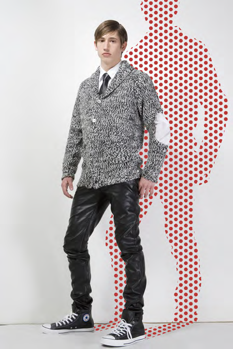 From the Ca$hmere lookbook this model wore high-top runners with leather pants and the feature cable-knit sweater