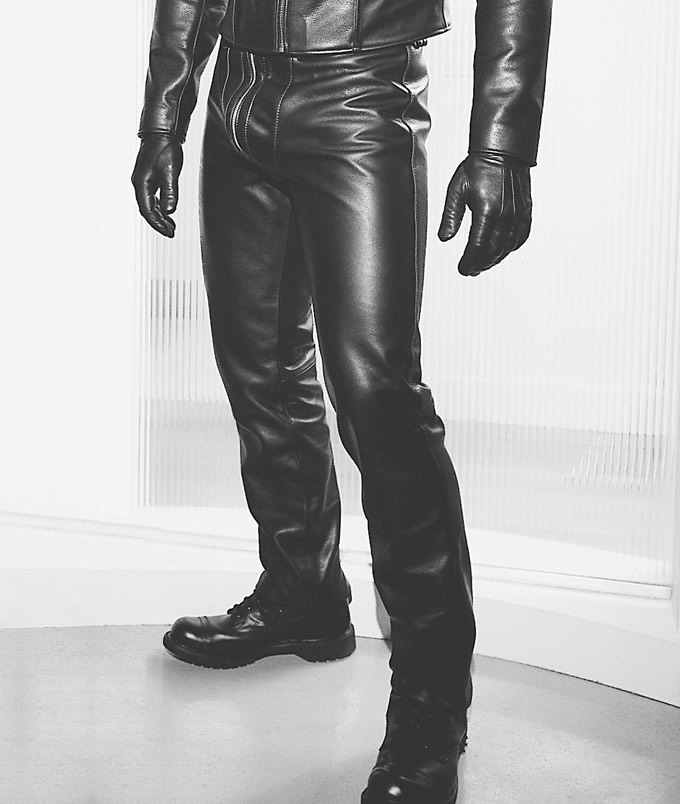Saddle cut form fitting leather pants from Northbound Leather